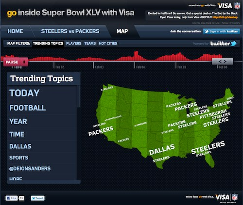 Visa Super Bowl Twitter trending topics map